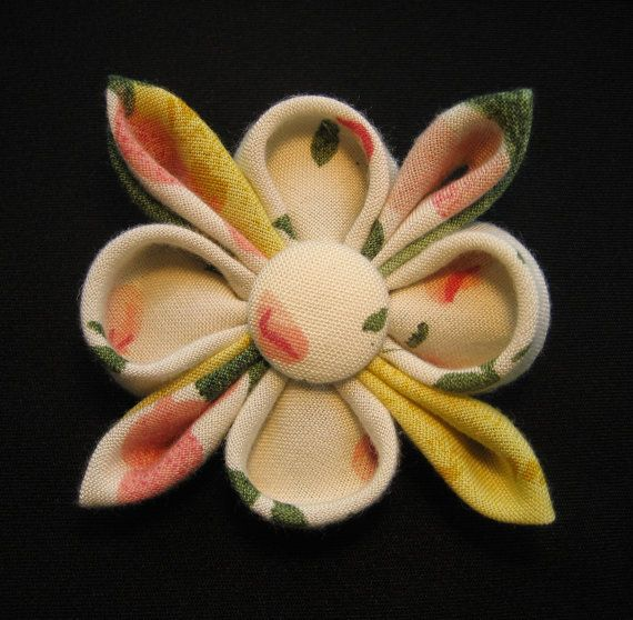 Kanzashi Flower Hair Fascinator or Brooch OOAK by empressbarrettes