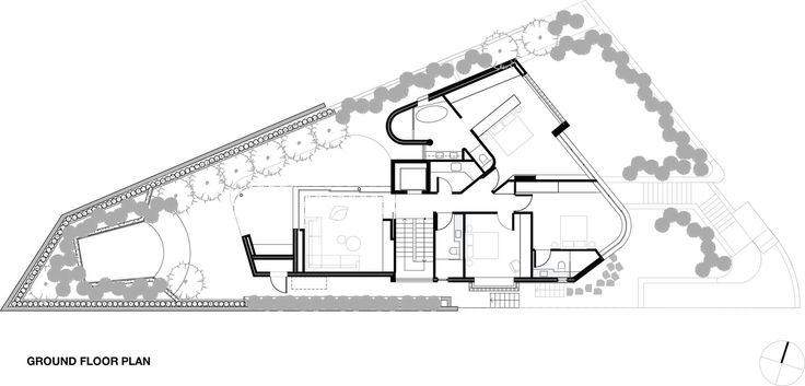 Ground floor plan Tamarama House, 2 Thompson Str, Taramara I Porebski Architects