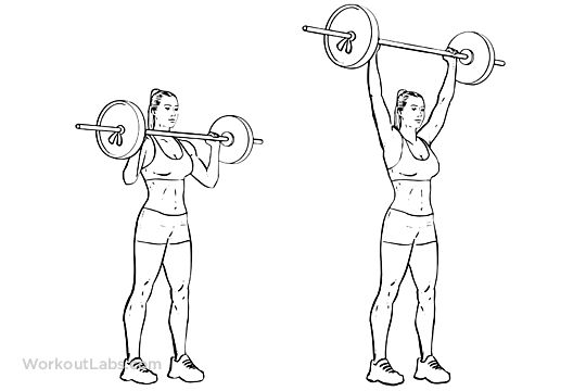 Standing Overhead Military Barbell Shoulder Press