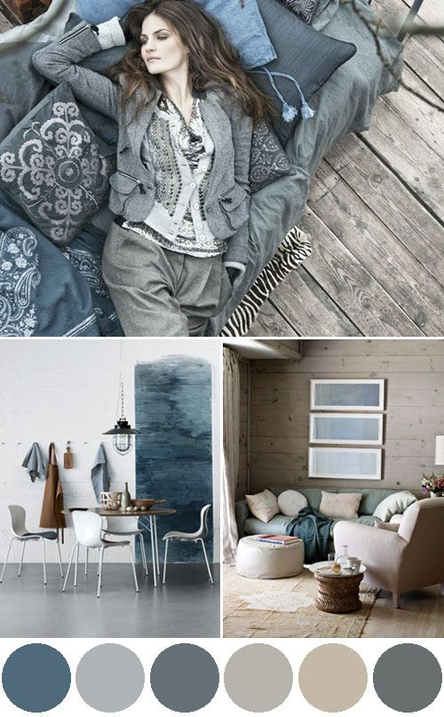 Blues and shades of grey are the perfect colour combination.