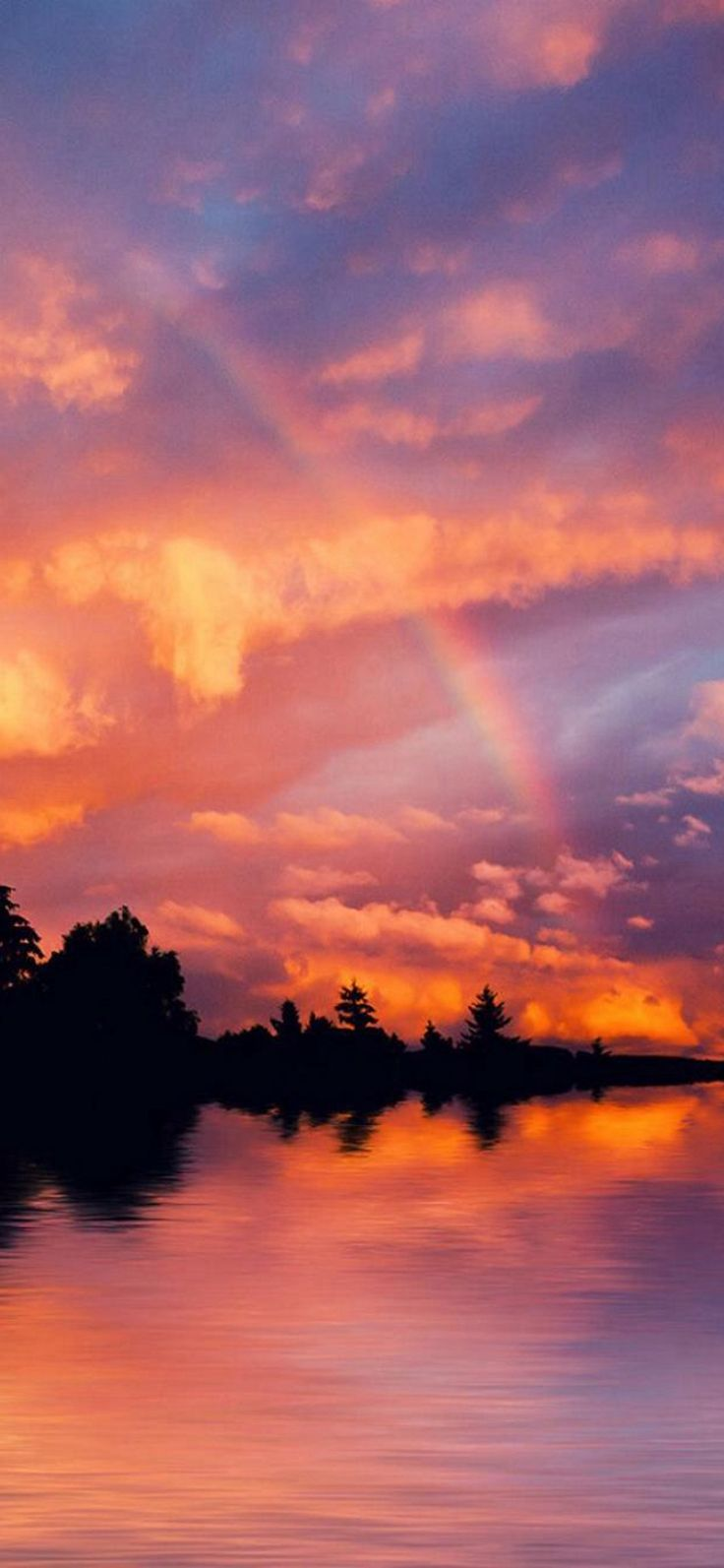 Nature Wonderful Colorful Sunset River Bank Landscape #iPhone #X #wallpaper