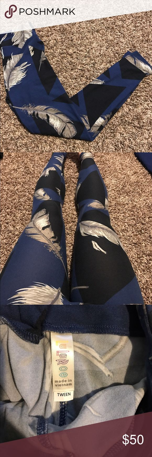 LuLaRoe leggings NWOT Tween leggings that fit like OS - I am wearing in the last picture for reference. (5'2 125 pounds) . Unicorn feather pattern  LuLaRoe Pants Leggings
