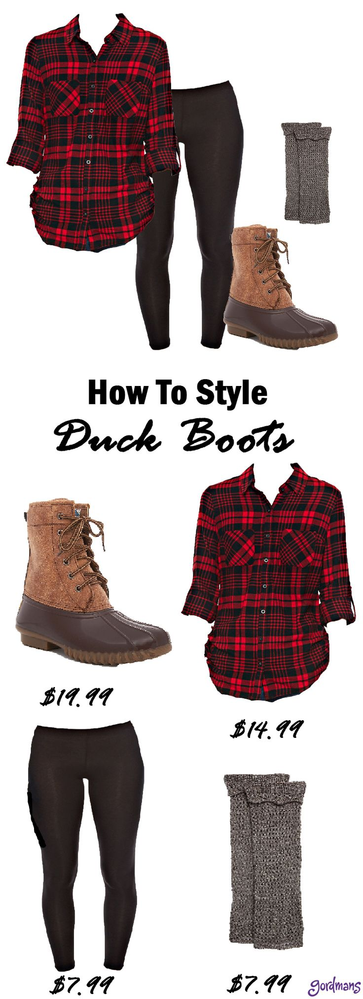 Duck boots are so in! Style these on a rainy day, a snowy day, or even a sunny day! They look great with a pair of comfy leggings and the perfect plaid button up!