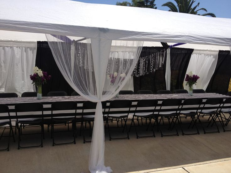 Black and white party tent