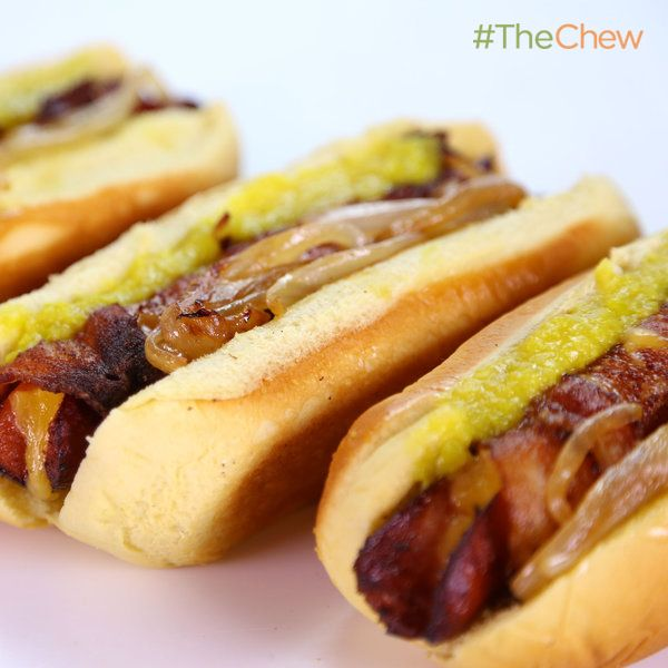 Michael Symon's Bacon Fried Stuffed Hot Dogs! #TheChew #HotDog