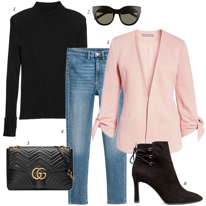 how to create a capsule collection for free and from your closet, pink blazer outfit, spring fashion