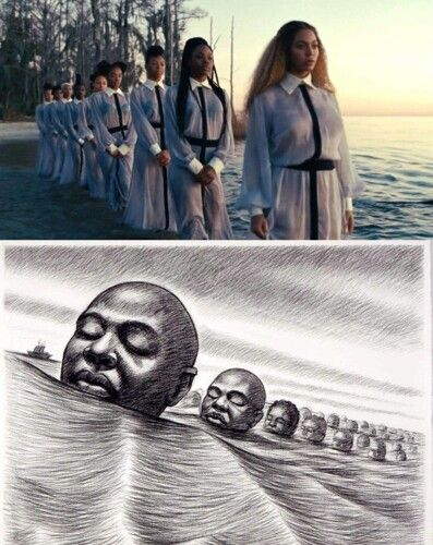 "A little Trivia about Beyonce's ""Love Drought"" video scene... The picture seen below Beyonce's photo is about the ""Igbo Landing"" story - An act of mass resistance against slavery. Igbo Landing is the location of a mass suicide of Igbo slaves that occurred in 1803 on St. Simons Island, GA. A group of Igbo slaves revolted, took control of their slave ship, grounded it on an island, & rather than submit to slavery, proceeded to march into the water while singing in Igbo, drowning themselves…"
