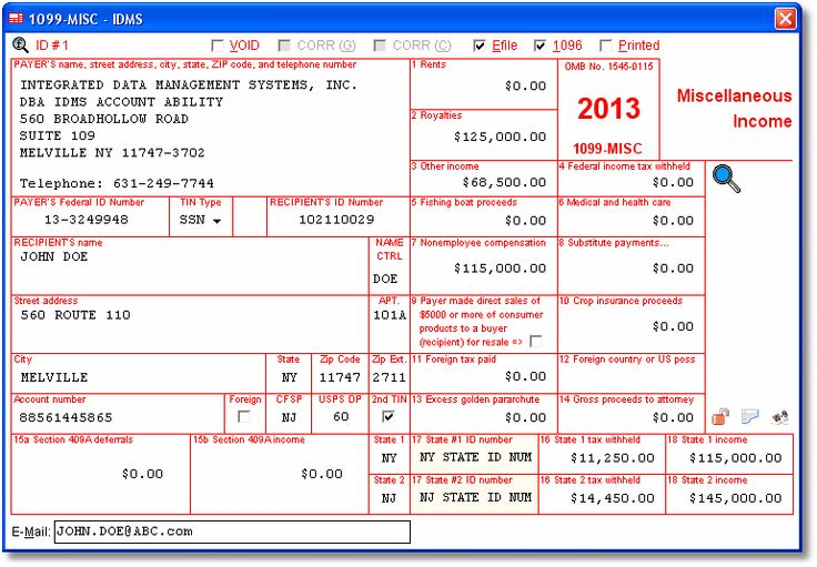 Account Abilitys 1099-MISC User Interface - Miscellaneous Income - Data is entered onto windows that resemble the actual forms. Imports recipient information from spreadsheets or delimited text files. Files Copy A electronically via IRS FIRE or on preprinted laser forms. Prepares recipient and payer copies on ordinary copy paper or PDF for eDelivery.