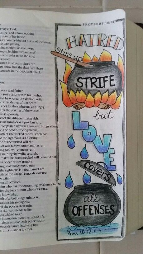 Proverbs 15:12 Hatred stirs up strife but love covers all offenses (pot, cooking, cauldron, fire, water)