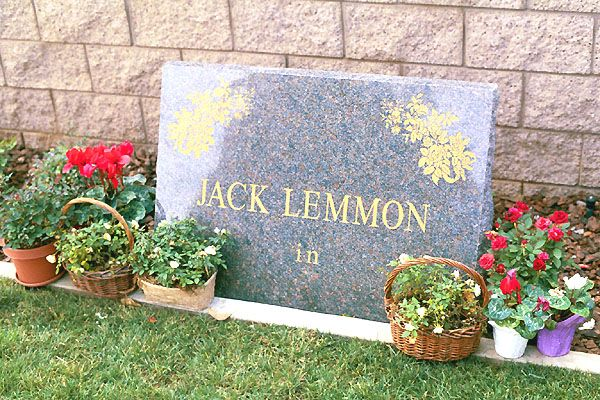 "THE GRAVE OF JACK LEMMON  (actor: ""Some Like it Hot"", ""The Apartment"", ""The Odd Couple"")  at Pierce Brothers Westwood Memorial Park  in Los Angeles, California"