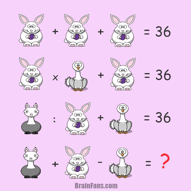 Brain teaser - Number And Math Puzzle - puzzle with animals for genius - New puzzle with animals contains these operations (+,-,x,:). There are three animals: bunny, ostrich and llama.   Solve these equations and select numbers corresponding to animals. Easy or hard?