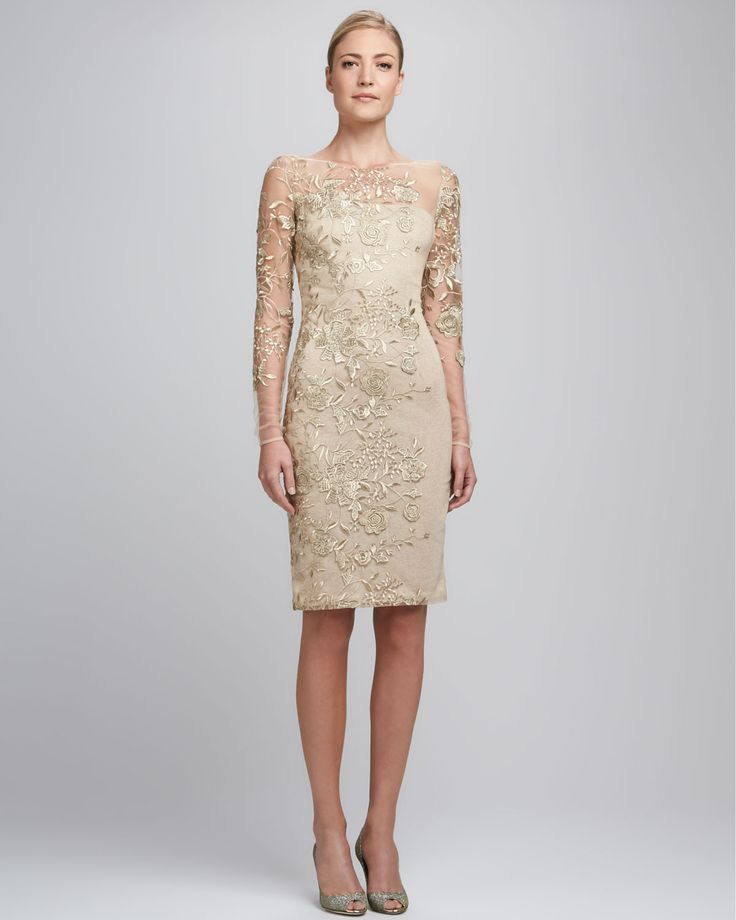 gold-embroidered-lace-cocktail-dress-