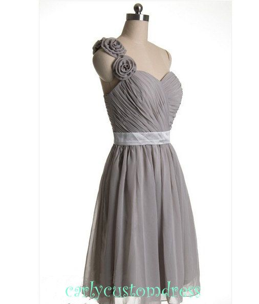 Grey Green Short Chiffon Bridesmaid Dress Cheap Mint Coral