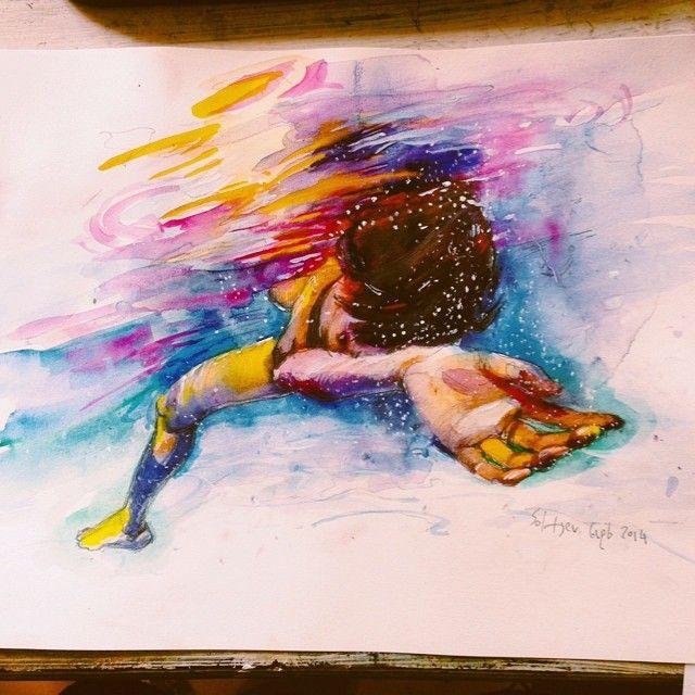watercolor, paper a3 #underwater #watercolor #surf art #surf #water #art