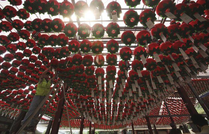 Seul, Corea del Sud. Lanterne appesa nel tempio Bong Eun