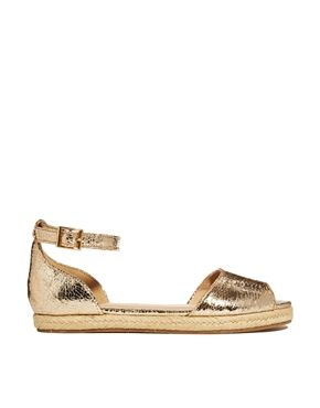 River Island Espadrille Gold Peep Toe Flat Sandals Shoes