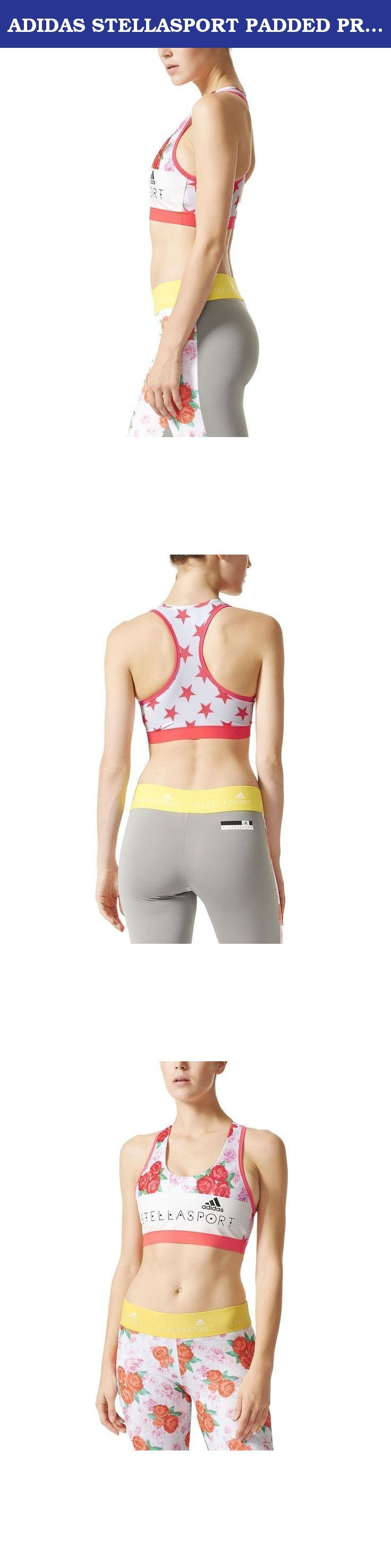 ADIDAS STELLASPORT PADDED PRINT SPORT BRA (S). Fresh pops of colour and bold patterns define this season's adidas STELLASPORT collection. A team effort between adidas and Stella McCartney, the line puts Stella's fun, youthful spin on favourite sportswear styles. Designed for medium support, this adidas STELLASPORT workout bra is built of super-breathable fabric so you stay dry and comfortable. With contrasting edging and a front-and-centre Stella logo.