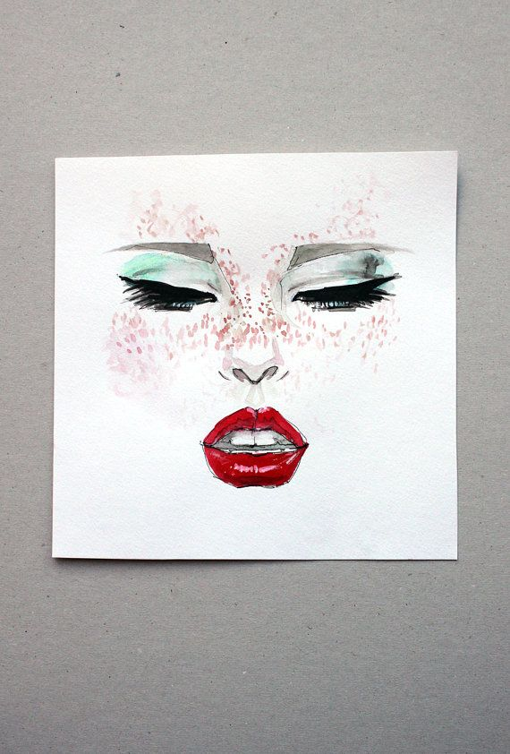 Original Square Ink Drawing Girl Face with Red Lips by Smogartist