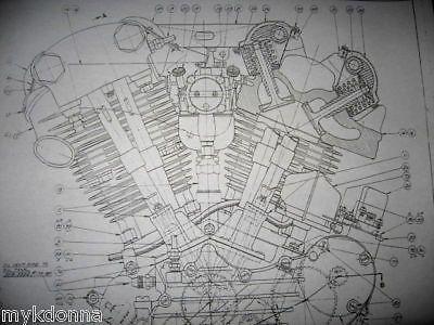 Details about HARLEY DAVIDSON 61ci KNUCKLEHEAD Engine BLUEPRINT EL ...