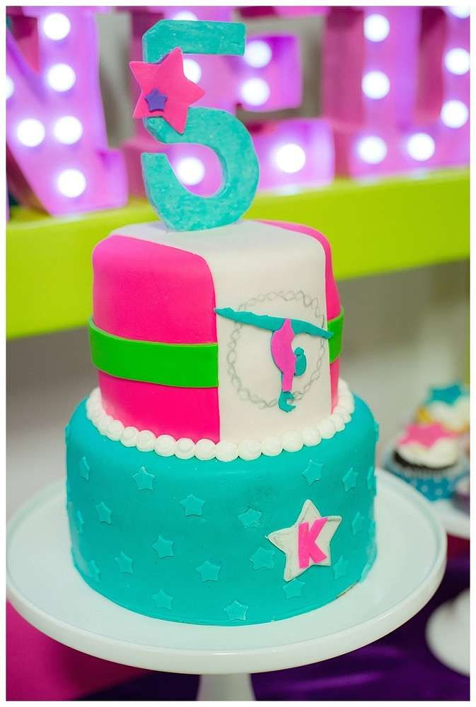 Cool cake at a gymnastics birthday party! See more party ideas at CatchMyParty.com!