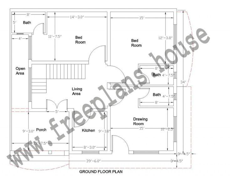 39x34 Feet House Plan Plans Pinterest House Plans