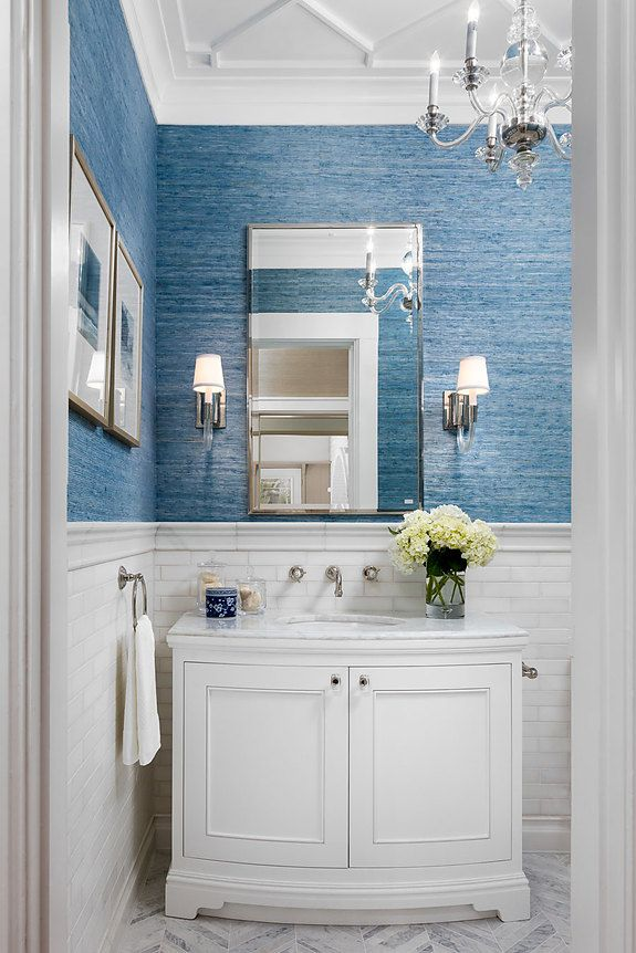 Interior designer Robert Frank featured Extra Fine Arrowroot 1966 Mediterranean in the powder room of the 2016 Pasadena Showhouse.