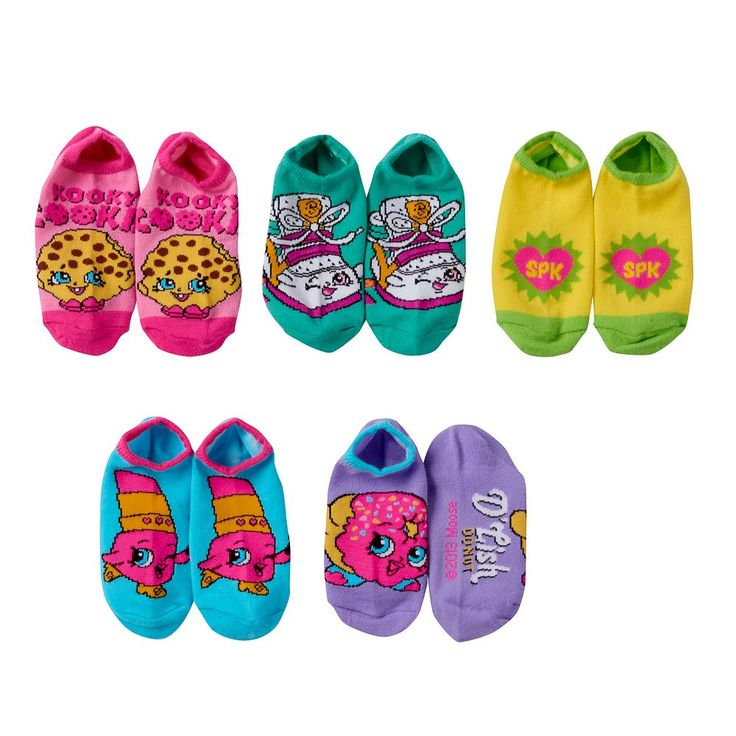 Girls 4-16 Shopkins 5-pk. No-Show Graphic Socks, Size: 6-8 1/2, Pink