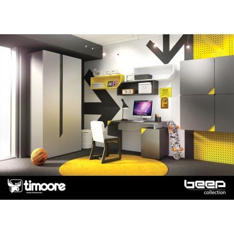 """Beep bedroom starter set. The """"Beep"""" collection combines an innovative approach to design with proven construction solutions. This starter set includes a bed and single door wardrobe."""