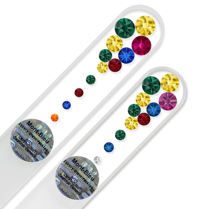 "Set of 2 ""Marbles Clear"" Glass Nail Files Decorated with Swarovski crystals 