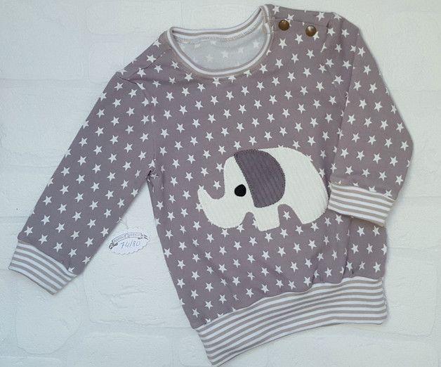 ** Милый Джерси Рубашка со слонами-приложения (вельвет) в Gr.74/80**! Две кнопки на левом плече для облегчения входа!   Шикарно, удобно и не от штанги....