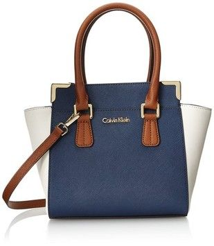 Calvin Klein Saffiano Leather Color-blocked Navy Combo Cross Body Bag. Get the…