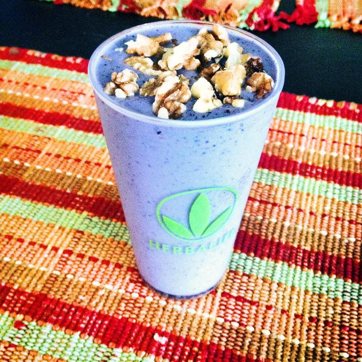 :: Blueberry Muffin :: 2 scoops Cookies and Cream Formula 1  Frozen Banana Frozen Blueberries  8 oz. Unsweetened Vanilla Almond Milk   -- Blend and enjoy -- #Herbalife #Smoothie #Shake