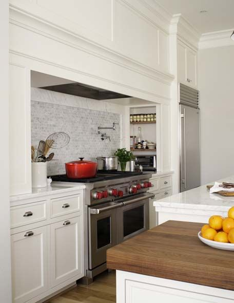 Integrated vent hood niches stove kitchens pinterest for Stove top with built in vent