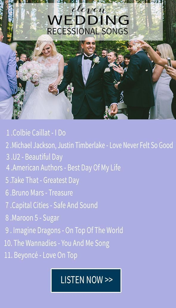 Recessional wedding songs, or wedding exit songs are the wedding songs that play after you have said I do, after you have kissed right after you have been officially pronounced husband and wife. You are about to walk back down the ais