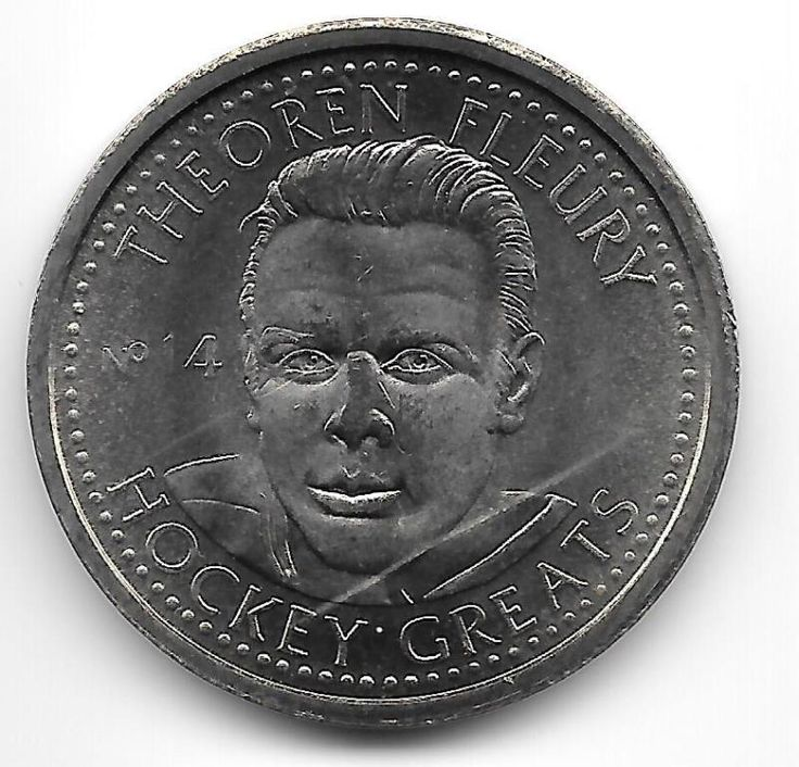 1996-97 HOCKEY GREATS COIN, THEOREN FLEURY - http://coins.goshoppins.com/candaian-coins/1996-97-hockey-greats-coin-theoren-fleury/
