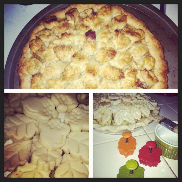 My apple pie using crust cutters from Williams Somoma. Hint: after you roll out the dough put it in the freezer so it is easy to cut out shapes.