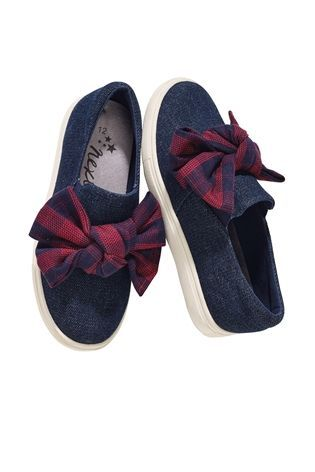 Buy Navy Checked Bow Skate Shoes (Older Girls) from the Next UK online shop