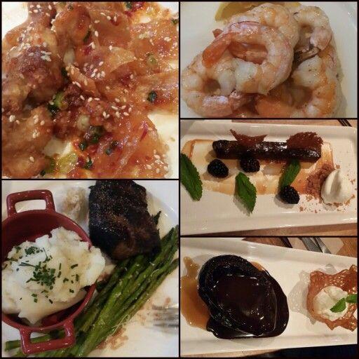 #chicken and #wontons #sauteedshrimp #chocolatebar #toffee #cake #steak #yum
