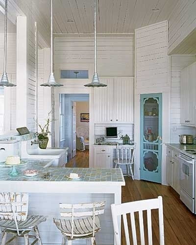charming beach shack kitchen- so easy and funIdeas, Cottages Kitchens, Beach House, Beach Cottages, Pantry Doors, Old Screens Doors, Screen Doors, White Kitchens, Pantries Doors