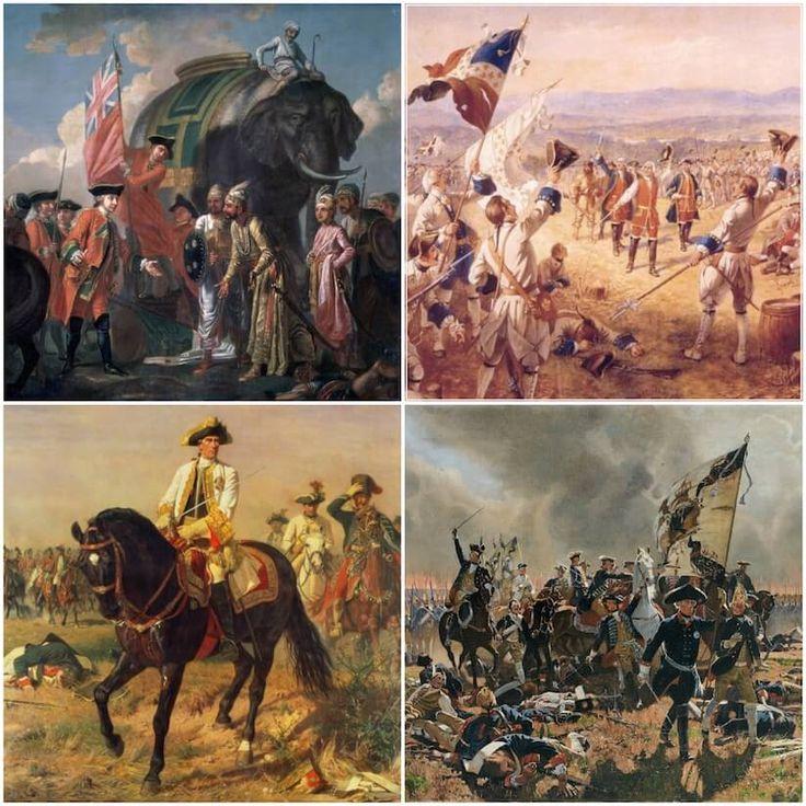 七年戦争(1756〜1763)  プロイセンとオーストリアの対立を軸におきた国際戦争。関連して英仏植民地戦争(北アメリカでフレンチ・インディアン戦争、インドでブラッシーの戦い)を展開した。