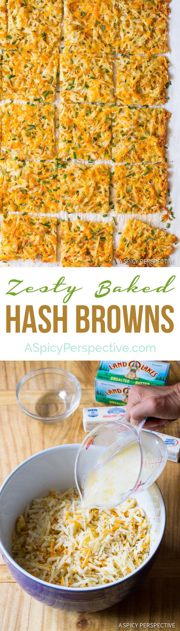 Easy Crispy and Zesty Baked Hash Brown Recipe on ASpicyPerspective.com #breakfast #potatoes