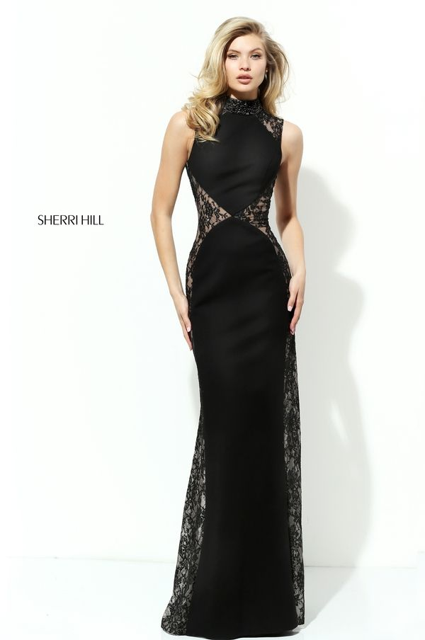Black evening gown with lace side panels