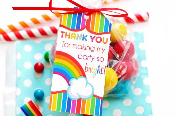 Rainbow Party Favor Tags Rainbow Party Gift by ForeverYourPrints