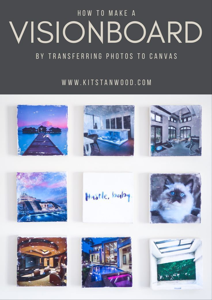 How to create a vision board by transferring photos to canvas.