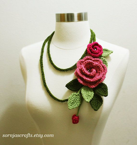 Pink Rose Flower Crochet Lariat Necklace Neck wrap Headband. .