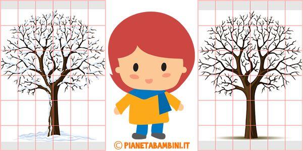 Albero invernale murale per la scuola dell'infanzia da stampare
