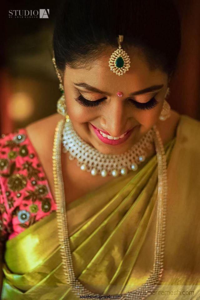 South Indian Bride in diamond Jewellery designs