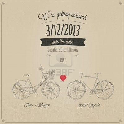 Grunge retro invitación de la boda con las bicicletas tándem del vintage Foto de archivo - 17470886