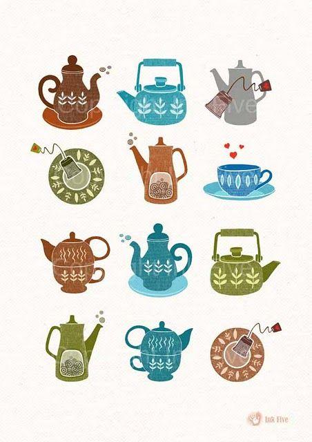 Illustrations of teapots by Ink Five #teapots #tea #scandanavian