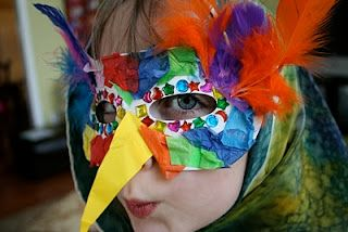"""""""Kid's happy hour"""" Make Bird Masks..the beak is a tad too intense, but this could be a good idea to use the left over feathers, tissue paper, and felt we have from hat making."""